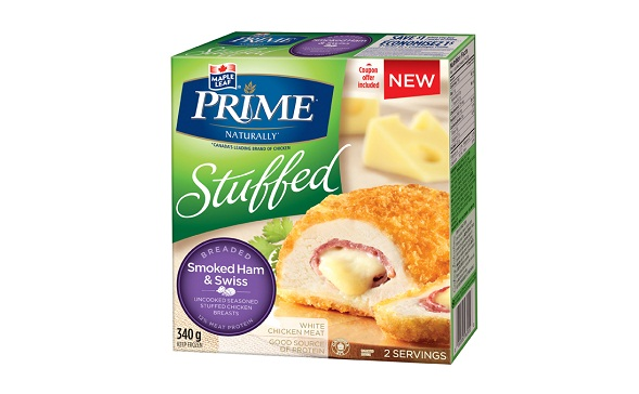 MAPLE LEAF PRIME® STUFFED BREADED – SMOKED HAM & SWISS