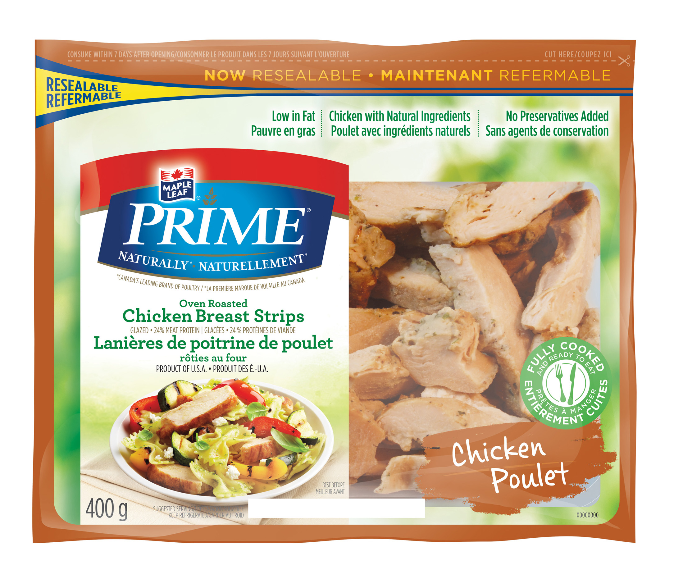 Maple Leaf Prime® Naturally® Oven Roasted Chicken Breast Strips