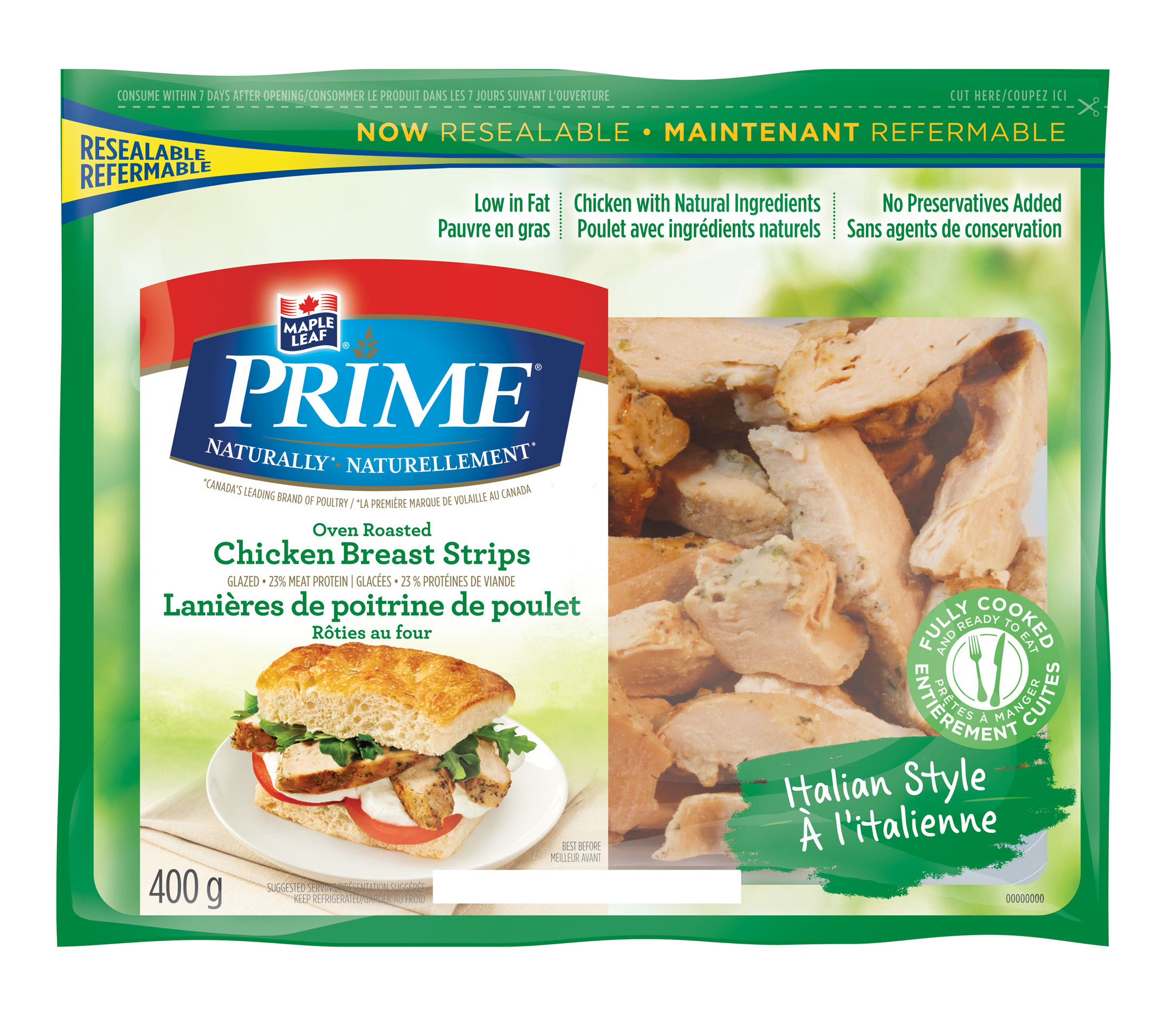 Maple Leaf Prime® Naturally® Itanlian Style Oven Roasted Chicken Breast Strips