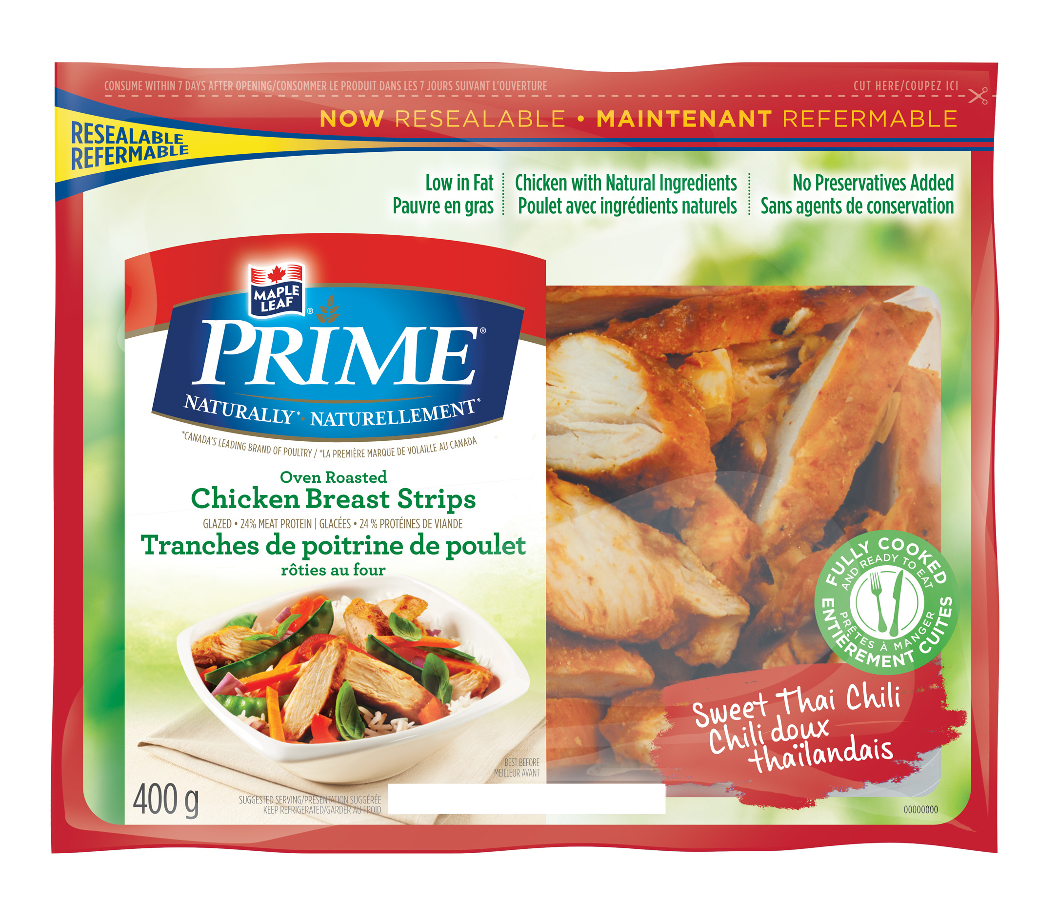 Maple Leaf Prime® Naturally® Sweet Thai Chili Oven Roasted Chicken Breast Strips