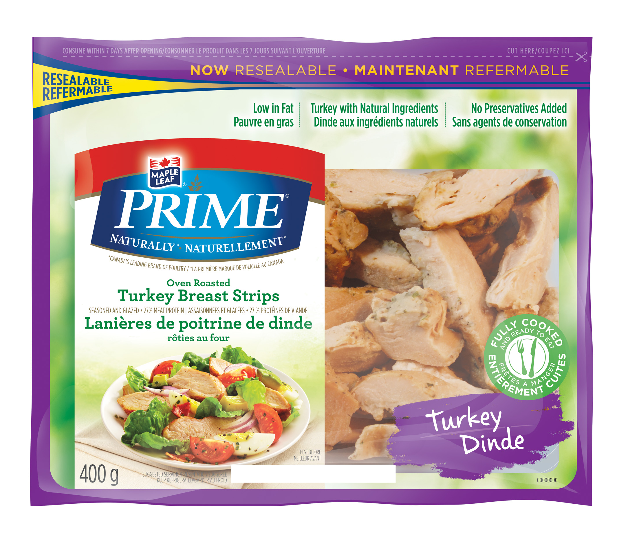 Maple Leaf Prime® Naturally® Oven Roasted Turkey Breast Strips